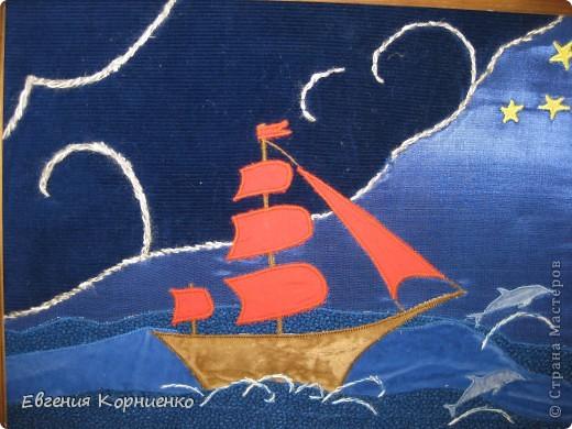 """Картина из ткани """"Алые паруса"""" 30х40 Лоскутная техника аппликация. Картина находится в частной коллекции. фото 1"""