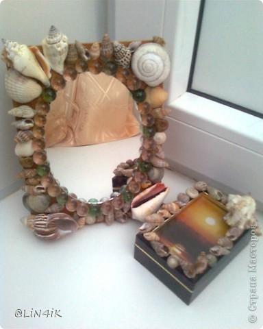 Зеркало и шкатулка, декорированные ракушками