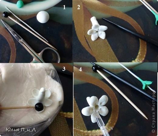 Эти беленькие цветочки, я иногда видела в свадебных букетах, но т.к. не знала названия рассмотреть их было сложновато. Потом увидела этот цветок у Сarol http://stranamasterov.ru/node/196382  (называется он оказывается  Стефанотис или мадагаскарский жасмин ) и решила слепить. фото 3