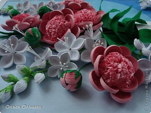 Картина панно рисунок День рождения Квиллинг Букет Нежность Бумага гофрированная Бумажные полосы Проволока Салфетки фото 2
