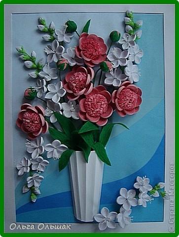 Картина панно рисунок День рождения Квиллинг Букет Нежность Бумага гофрированная Бумажные полосы Проволока Салфетки фото 8
