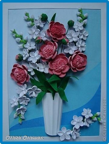 Картина панно рисунок День рождения Квиллинг Букет Нежность Бумага гофрированная Бумажные полосы Проволока Салфетки фото 1