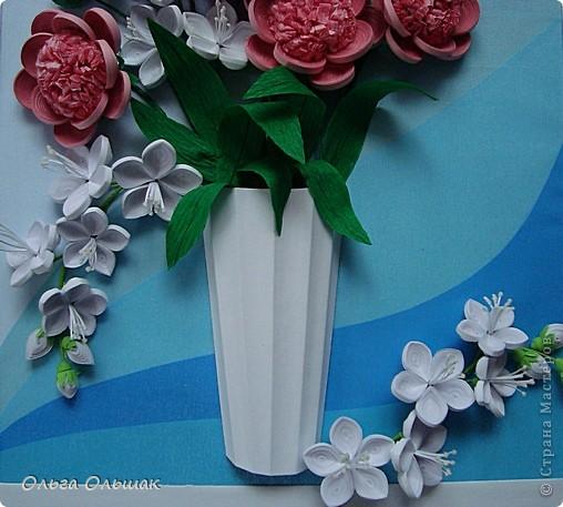 Картина панно рисунок День рождения Квиллинг Букет Нежность Бумага гофрированная Бумажные полосы Проволока Салфетки фото 3