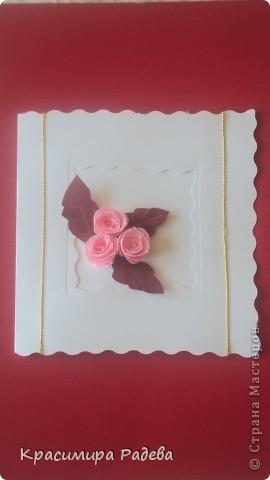 Ето моето най-ново творение- пано и картичка . Подарък за добра приятелка. Розите са правени по МК на aziL . Фотографирах много набързо и качеството не е много добро. фото 5