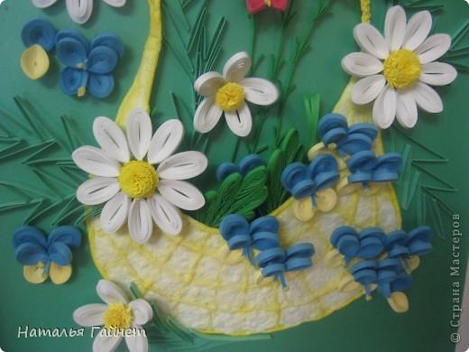 """Панно """"Летнее очарование"""" или корзинка в подарок. Хотелось полевых и садовых цветов!Родились Фиалки, ромашки и колокольчики.  фото 6"""
