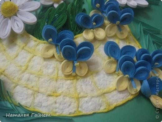 """Панно """"Летнее очарование"""" или корзинка в подарок. Хотелось полевых и садовых цветов!Родились Фиалки, ромашки и колокольчики.  фото 7"""