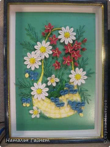 """Панно """"Летнее очарование"""" или корзинка в подарок. Хотелось полевых и садовых цветов!Родились Фиалки, ромашки и колокольчики.  фото 1"""
