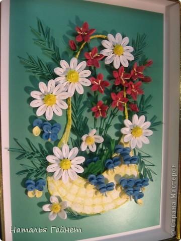 """Панно """"Летнее очарование"""" или корзинка в подарок. Хотелось полевых и садовых цветов!Родились Фиалки, ромашки и колокольчики.  фото 3"""