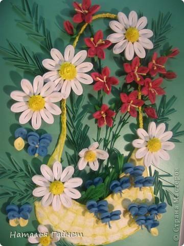 """Панно """"Летнее очарование"""" или корзинка в подарок. Хотелось полевых и садовых цветов!Родились Фиалки, ромашки и колокольчики.  фото 2"""
