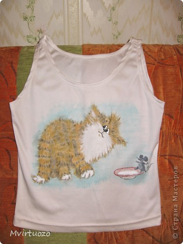 Ура! У меня родилась первая футболочка! Идея давно витала и вынашивалась и наконец я собралась! Не я первая и не я последняя засматривались котейками Алексея Долотова. Вот он то и послужил первым персонажем. фото 1
