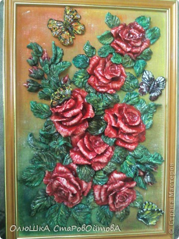 Ну вот и у меня выросли розы.....только из теста. Картина небольшая 25на 30см. фото 2