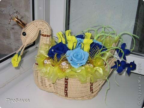 """Моя новая поделка, в корзинке """"лебедь"""". Изготавливалась в подарок на юбилей.  фото 1"""