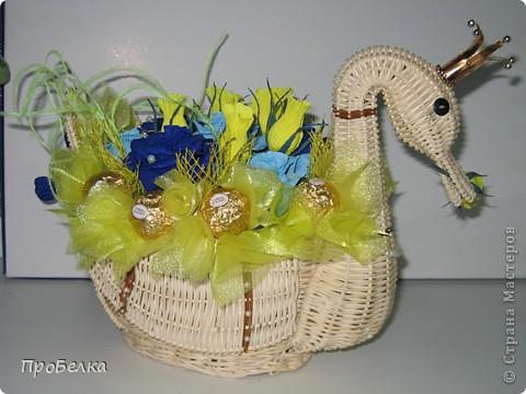 """Моя новая поделка, в корзинке """"лебедь"""". Изготавливалась в подарок на юбилей.  фото 5"""