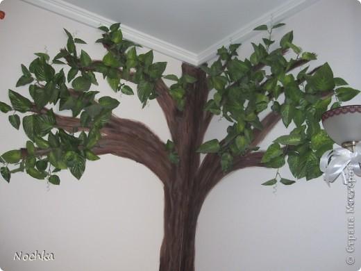"""Вот такое деревце """"растёт"""" в комнате рабочего общежития. Впервые подобное дерево я создавала для мамы, делала """"семейное древо"""" на ветвях красовались рамочки с фотографиями нашей семьи, распологалось оно по центру стены, в отличии от этого и ствол делала из кусочков ткани затем покрывала лаком, смотрится более естественно чем в нарисованном варианте. Это деревце тоже смотрится очень интересно и весьма оживляет комнату, навевает летнее настроение, даже в суровые морозы! фото 1"""