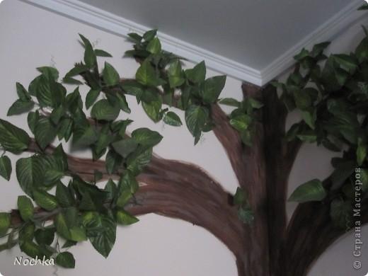 """Вот такое деревце """"растёт"""" в комнате рабочего общежития. Впервые подобное дерево я создавала для мамы, делала """"семейное древо"""" на ветвях красовались рамочки с фотографиями нашей семьи, распологалось оно по центру стены, в отличии от этого и ствол делала из кусочков ткани затем покрывала лаком, смотрится более естественно чем в нарисованном варианте. Это деревце тоже смотрится очень интересно и весьма оживляет комнату, навевает летнее настроение, даже в суровые морозы! фото 4"""