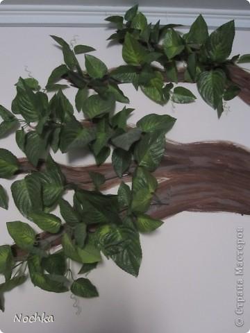 """Вот такое деревце """"растёт"""" в комнате рабочего общежития. Впервые подобное дерево я создавала для мамы, делала """"семейное древо"""" на ветвях красовались рамочки с фотографиями нашей семьи, распологалось оно по центру стены, в отличии от этого и ствол делала из кусочков ткани затем покрывала лаком, смотрится более естественно чем в нарисованном варианте. Это деревце тоже смотрится очень интересно и весьма оживляет комнату, навевает летнее настроение, даже в суровые морозы! фото 6"""
