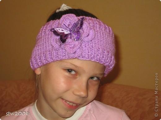 Вязала дочке повязку на зиму под капюшон, т.к. учится в хореографическом классе и ходит в школу с шишкой на голове, а на неё шапку не наденешь, поэтому возникла необходимость связать такую штучку. фото 2