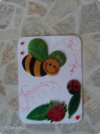 Отмахиваясь от туч комаров, выметая паутину изо всех углов, уничтожая тлю и садовых муравьев - я подумала, что от насекомых пользы все же больше, чем неприятностей! Собирает пчелка На цветах нектар, Будет много толку, Людям щедрый дар. Сладкий и душистый, Ароматный мед, Скоро его пчелка Всем нам принесёт. Свежий запах лета Будет в меде том. Солнышком согрето, Счастье входит в дом. А пока у пчелки Ножки все в пыльце, Кто её увидел- Радость на лице. * * *  Я летать умею ловко, Божья пестрая коровка. Крылья красненькие в точках, Словно в черненьких кружочках. В яркой праздничной рубашке Я спасаю урожай. Я – полезная букашка, Ты меня не обижай! Да и приболела я что-то и захотелось мне что-то ТАКОГО летнего-летнего и веселенького-веселенького!!! Вот и сделала многосерийную коллекцию АТС!!! фото 3