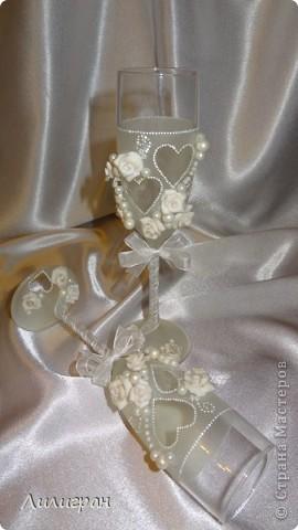 Готовлюсь к своей свадьбе=))) Вот уже сделала бокальчики, шкатулочку для колец и лебедя, пока одного (второй в процессе)...  фото 2