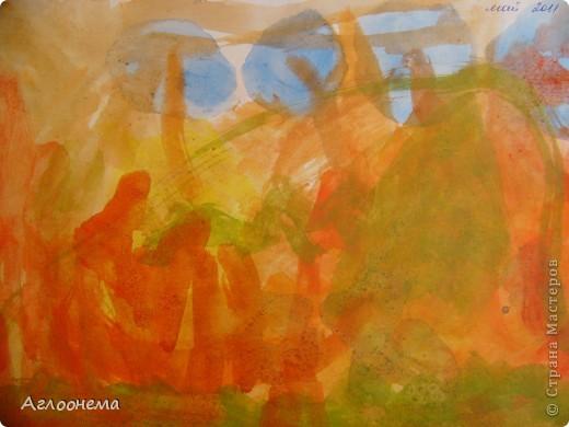 """Саша назвал этот рисунок - """"Пейзаж""""(акварель) фото 2"""