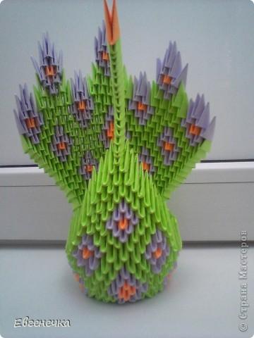 Это и есть мой павлин! На него ушло: примерно 420 зеленых модулей( или 13 листов зеленой бумаги), 224 модуля фиолетовой ( это - 7 листов фиолетовой бумаги), примерно 96 модулей оранжевой бумаги( то есть 3  оранжевых листа). фото 1