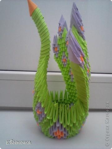 Это и есть мой павлин! На него ушло: примерно 420 зеленых модулей( или 13 листов зеленой бумаги), 224 модуля фиолетовой ( это - 7 листов фиолетовой бумаги), примерно 96 модулей оранжевой бумаги( то есть 3  оранжевых листа). фото 2