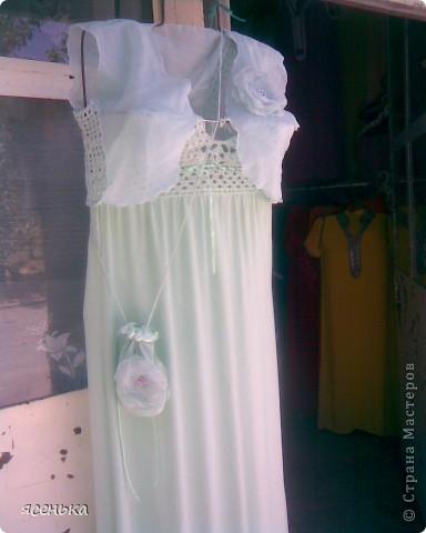 Это платье -мое любимое...Лиф выполнен крючком из х/б ниток...К нему идет болеро из шифона и сумочка для мелочей фото 1