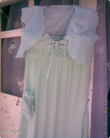 Это платье -мое любимое...Лиф выполнен крючком из х/б ниток...К нему идет болеро из шифона и сумочка для мелочей фото 2