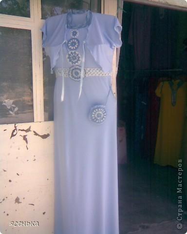 Это платье -мое любимое...Лиф выполнен крючком из х/б ниток...К нему идет болеро из шифона и сумочка для мелочей фото 6