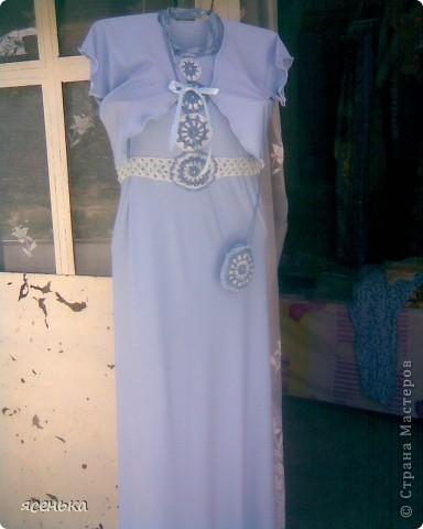Это платье -мое любимое...Лиф выполнен крючком из х/б ниток...К нему идет болеро из шифона и сумочка для мелочей фото 7