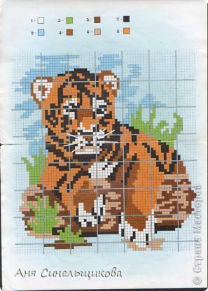 Этого тигрёнка я вышила совсем недавно. Его мне подарила Аня ещё давным-давно, но руки всё никак не доходили. фото 2