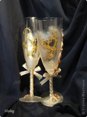 На свадьбу подруге сделались вот такие бокалы. Мой первый опыт фото 1