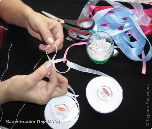 Нам понадобятся-ножницы,ленты различные,нитки,иголка,иголка-булавка,бусины. фото 4