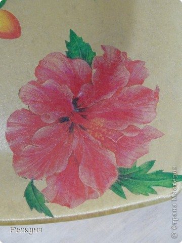 Китайская роза. Обратный декупаж дарит праздник каждый день. Обычная прозрачная тарелка стала элементом роскошной сервировки. фото 2