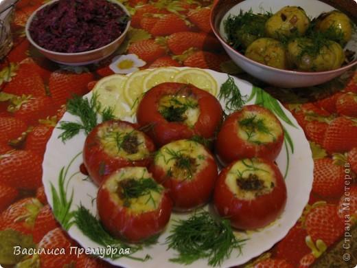 Запеченые помидоры,фаршированные сыром фото 6