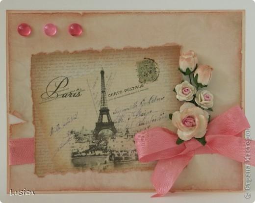 """Здравствуйте! Сделала я открытку для подруги. Получилась открытка """"Привет из Парижа"""":))"""