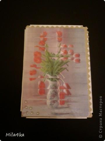 Начала делать новую серию АТСок.. И тут у одной из мастериц (Гимназистко) появилась замечательная серия с цветами и натолкнула меня на воспоминания.. Как я в детстве делала панно из открыток.. Вот я вдохновившись и решила, что отложу пока ту серию и создам - серию панно - с моими любимыми тюльпанами.. Спасибо,  Гимназистко за вдохновение - и надеюсь, что моя серия не является плагиатом :).. И, если вам понравится - буду очень рада..  Первое право выбора у моих кредиторов.  А теперь поближе.. фото 6
