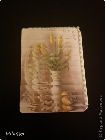 Начала делать новую серию АТСок.. И тут у одной из мастериц (Гимназистко) появилась замечательная серия с цветами и натолкнула меня на воспоминания.. Как я в детстве делала панно из открыток.. Вот я вдохновившись и решила, что отложу пока ту серию и создам - серию панно - с моими любимыми тюльпанами.. Спасибо,  Гимназистко за вдохновение - и надеюсь, что моя серия не является плагиатом :).. И, если вам понравится - буду очень рада..  Первое право выбора у моих кредиторов.  А теперь поближе.. фото 7