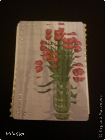 Начала делать новую серию АТСок.. И тут у одной из мастериц (Гимназистко) появилась замечательная серия с цветами и натолкнула меня на воспоминания.. Как я в детстве делала панно из открыток.. Вот я вдохновившись и решила, что отложу пока ту серию и создам - серию панно - с моими любимыми тюльпанами.. Спасибо,  Гимназистко за вдохновение - и надеюсь, что моя серия не является плагиатом :).. И, если вам понравится - буду очень рада..  Первое право выбора у моих кредиторов.  А теперь поближе.. фото 11