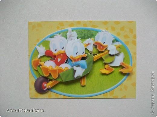 Карточка АТС Аппликация Микки Маус и его друзья 3D Бумага фото 2
