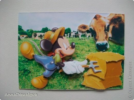 Карточка АТС Аппликация Микки Маус и его друзья 3D Бумага фото 7