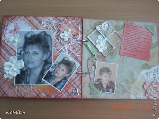 Воодушевилась на создание альбома после просмотра альбома Дватаи  http://stranamasterov.ru/node/107966?c=favorite. Что-то слизано (проститие, Анастасия, просто на Ваших работах учусь), но старалась в основном создать свое творение. Вот обложка. Бумага текстурная, смотрится очень здорово. Делалось все на картонной заготовке для альбома. фото 10