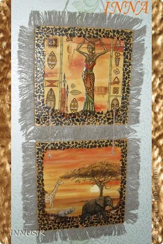 """Панно """"Африка"""":  виниловая пластинка, яичная скорлупа(крашенная), мотивы салфеток, клей пва, акриловые краски и гуашь для грунтовки и подрисовки общего фона, немного золотой пудры, акриловый и паркетный алкидный лаки. фото 2"""