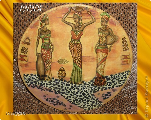 """Панно """"Африка"""":  виниловая пластинка, яичная скорлупа(крашенная), мотивы салфеток, клей пва, акриловые краски и гуашь для грунтовки и подрисовки общего фона, немного золотой пудры, акриловый и паркетный алкидный лаки. фото 1"""