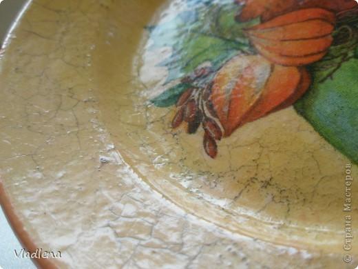 Я опять с тарелками. Коллега попросила сделать в подарок. Прямой декупаж, тарелка керамическая, салфетка, кракелюр MAIMERI 753 и 754. Пара эта очень понравилась. Трещинки тоненькие, не мелкие, в меру. Затирала спец.пудрой цвета медь. фото 4