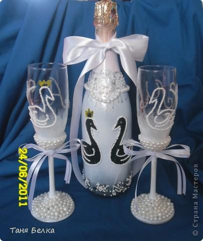 Вот такой набор сделала недавно на свадьбу ))) невеста была в восторге. Идея для декора фужеров взята из интернета (автора не помню) фото 1