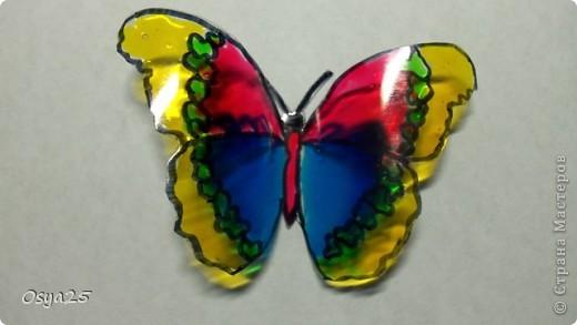 Бабочки из пластиковой бутылки!Разрисованы детскими красками по стеклу!Вдохновилась с этого урока  http://stranamasterov.ru/node/166020?tid=451%2C1248 фото 3