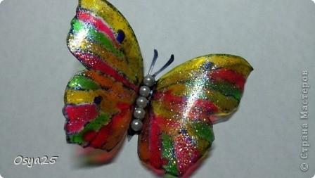 Бабочки из пластиковой бутылки!Разрисованы детскими красками по стеклу!Вдохновилась с этого урока  http://stranamasterov.ru/node/166020?tid=451%2C1248 фото 2