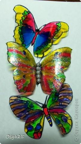 Бабочки из пластиковой бутылки!Разрисованы детскими красками по стеклу!Вдохновилась с этого урока  http://stranamasterov.ru/node/166020?tid=451%2C1248 фото 1