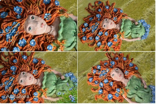 """Очень мне понравились работы Решенскова Екатерина """"Девушка в цветах"""", """"Русалочка""""; ОлюШкА СтаРовОйтовА """"Нимфа"""". Вот и я наконец-то решилась сваять женское лицо. Результатом не особо довольна, но будем развиваться. фото 2"""
